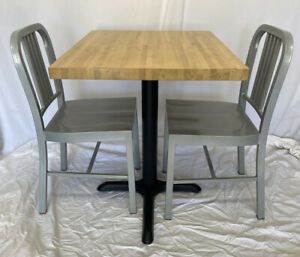 """Restaurant Butcher Block Table W/Base 30x25x30H & Two 33""""H Silver Metal Chairs"""
