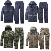 2PCS Mens Waterproof Jacket Pants Zip Outdoor Motorcycle Rain Coat Windproof