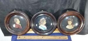 3 Wax Miniature Portraits Countess Waldegrave Queen Charlotte King George III !!