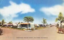 GREENWOOD TRAILER COURT San Diego, California Trailer Park ca 1950s Postcard