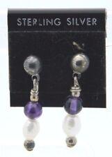 New Old Stock Sterling Silver Pearl Amethyst Southwestern Drop Earrings