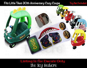 Dinosaur Replacement Stickers fits 30th Little Tikes Dino Cozy Coupe Car Ride-on