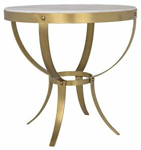 "30"" Set of Two Side Table Metal Frame Antique Brass White Marble Top Round"