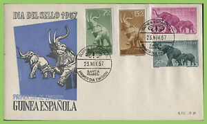 Spanish Guinea 1957 Stamp Day, Elephants set on First Day Cover
