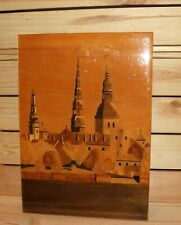 Vintage hand made inlaid wood wall hanging plaque cityscape