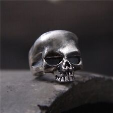 Solid 925 Sterling Silver Mens Heavy Skull Ring Boxed