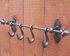 49cm Vintage Hierro Fundido 4 ganchos Abrigo Ropa Percha Toallero Montado En La Pared Estante
