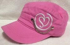 Pugs Gear Pink w/ Heart and Silver Chain Military Cadet Cap Hat NWT Orig $19.99