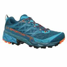 La Sportiva Akyra Mens Cushioned Trail/Ultramarathon Running Shoes Ocean/Flame