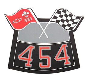 454 FLAGS CHROME AIR CLEANER DECAL CHEVY CAMARO CHEVELLE NOVA TRUCK CAPRICE