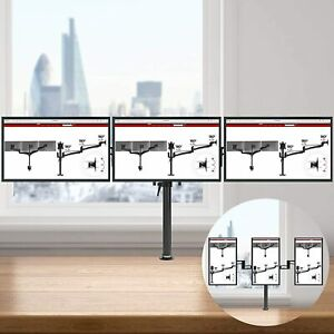 """Triple Arm Desk Mount 13""""-24"""" Screen TV LCD LED Computer Monitor Bracket Stand"""