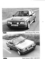 "FORD ESCORT RS TURBO AND ESCORT XR3i CABRIOLET  PRESS PHOTO ""Brochure related"""