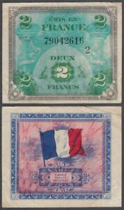 France - WWII Allied Military Currency, 2 Francs, 1944, VF+++, P-114