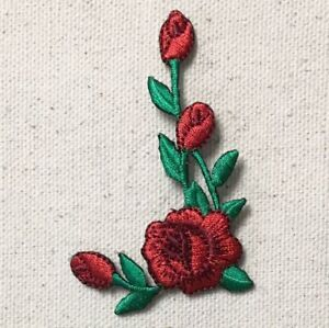 Red Rose Buds on Stem - Facing Left - Iron on Applique/Embroidered Patch