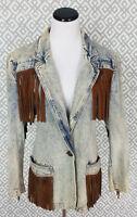 Womens Vintage Denim Jacket Laurice Acid Wash Blue Jean Jacket Sz Medium 80s 90s