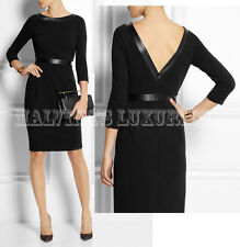 $1,650 GUCCI DRESS LEATHER TRIMMED STRETCH CREPE DEEP V-BACK XS / XSMALL