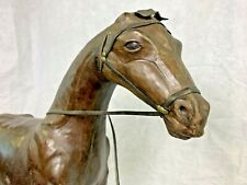 L👀K Vintage LARGE Standing 2 feet tall! Leather Horse - Tall Brown Leather