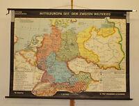 Schulwandkarte Deutschland n. 2.Weltkrieg Germany 196x141c vintage wall map 1961