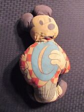 "Vintage MICKEY MOUSE 14"" Stuffed Plush Toy Doll GD+ 2.5 Blue Hat Checkered Shirt"