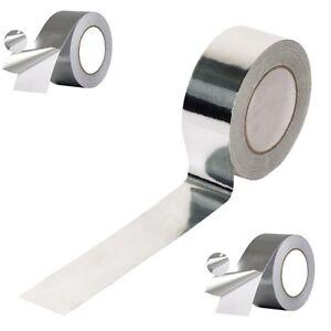 2 Rolls of Aluminium Foil Heat Insulation Tape 50mm x 50m Self Adhesive
