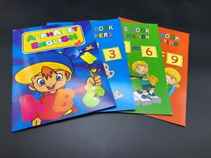 4 X Kids Handwriting Exercise Book English Alphabet Number Maths Educational