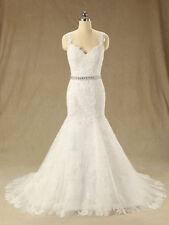 Tulle Lace Sleeveless V Neck Wedding Dresses