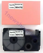 10pcs Compatible for Casio Tape 9mm BLACK on WHITE Label  XR-9WE1 KL-60 KL-120