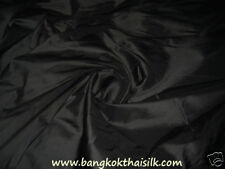 "BLACK 100% PURE SILK TAFFETA FABRIC 40""W BLOUSE DRESS SCARF CRAFT CURTAIN"
