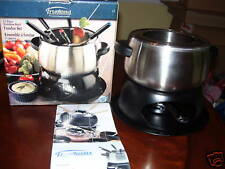 Stainless Steel Quality Cheese, Chocolate or Shrimp Fondue Set w/ recipes