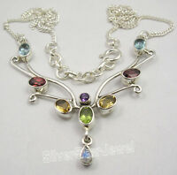 """925 Solid Silver MULTICOLOR GEMSET Chain Necklace 17 3/4"""" BIRTHDAY GIFT"""