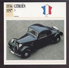 1934-1957 Citroen Model 11 (11B) France Car Spec Sheet Photo Info ATLAS CARD