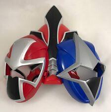3 Super Samurai Power Rangers Red Blue Ranger Costume Cosplay Mask Toy Bandai