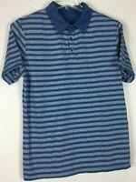 mens banana republic polo shirt XL short sleeve Striped Cotton Blend