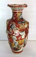 Antique Japanese Satsuma Meiji Hand-painted Earthenware crackle vase