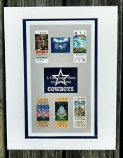 DALLAS COWBOYS  MATTED PHOTO OF ALL 5 SUPER BOWL REPLICA TICKETS  6/12/27/28/30
