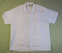Mens Cubavera Short Sleeve Rayon Blend Off White Cigar Shirt Size XL