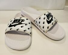 Nike Women's Benassi JDI Slide Sandal Polkadot White Black Slip-on Size 6