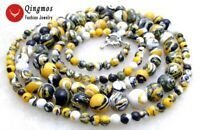 """6-8mm Round Yellow Multicolor Agate Graduate 33"""" Long Necklace for Women 5795"""