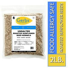 Unsalted Roasted Sunflower Seed Kernels, 2 LBS - Food Allergy Safe by Gerbs