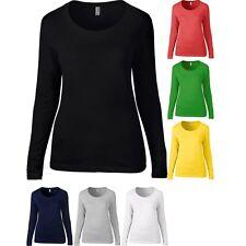 Ladies Women Anvil Long Sleeve Sheer Scoop 100% Cotton T Shirt