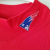 Vintage Red Mock Neck Patriots Short Sleeve Shirt Mens Large