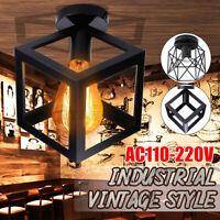 Loft Cage Pendant Lamp Vintage Iron Industrial Hanging Mount Ceiling Light