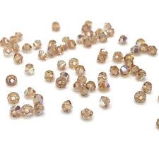 144 Swarovski 5328 Crystal XILION Bicone Beads 4mm gold LIGHT COLORADO TOPAZ AB