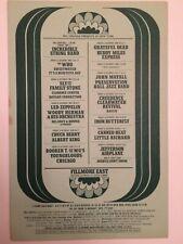 Fillmore East Postcard Handbill Led Zeppelin 1969