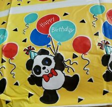 Pandas and Balloons PLASTIC TABLE COVER ~ Birthday Party Supplies