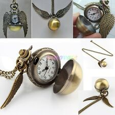 Unisex Harry Potter Steampunk Snitch Watch Necklace Quidditch Wing Pocket Watch