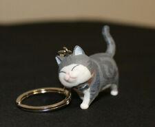 Gray white American Curl Stripe Shorthair Cat Key chain Keychain Keyring Kitty