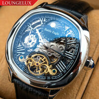 Mens Dual Time Flywheel Skeleton Automatic Mechanical Watch Silver Black Leather