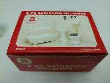 Town Square Miniatures 3 Piece White Bathroom Set, NEW IN BOX, UNUSED #M0367