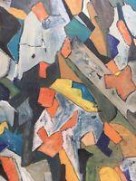 Peinture Abstraite 1960 Huile Sur Panneau Bois Hsp À Identifier Paysage Au Verso